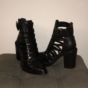 ASOS black leather booties